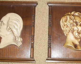 SALE - Vintage High-Relief Plaques - Presidents Washington and Lincoln