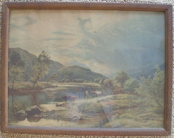 Vintage Framed Western Print - Mountains and Cattle
