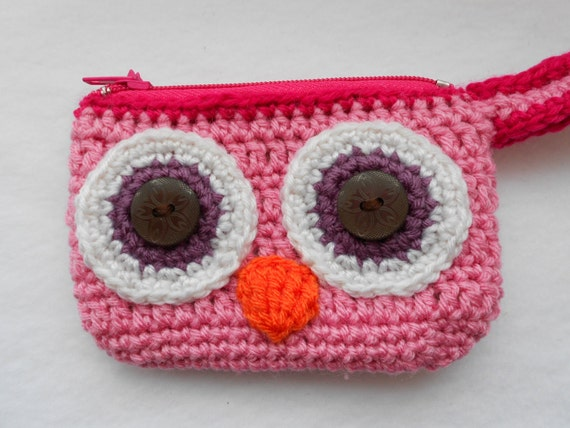 Cartera monedero búho rosado crochet tejido ganchillo por Lacebox