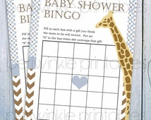INSTANT DOWNLOAD Baby Shower Games Giraffe Baby Shower for boy Printable Baby Shower Bingo Printable Party Decoration blue and brown chevron