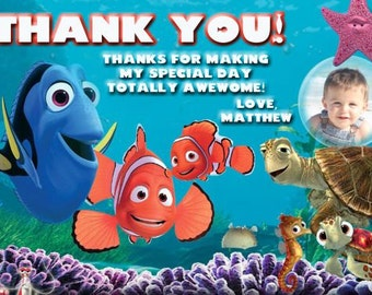 Finding Nemo Thank You Card, Finding Dory Thank You Birthday Party Digital Card 4x6 or 5x7