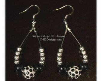 Black and Silver Disco Ball Earrings