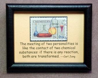 Chemistry USA -Handmade Framed Postage Stamp Art 0208W