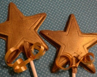 Gold Star Chocolate Lollipop - Birthday Party Favor - Award Dinners - Corporate Event Favor - Sports Banquet Favor - Little Star Baby Shower