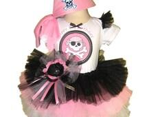 Pink Pirate Tutu Set . Infant thru Size 10