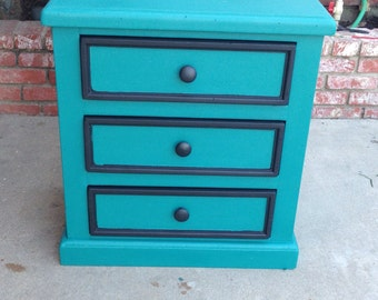 SOLD** Modern teal and black nightstand