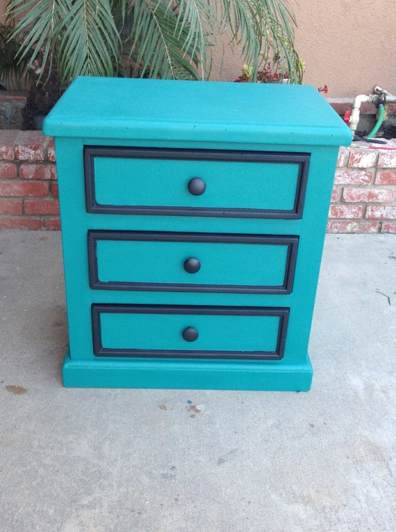 Modern teal and black nightstand