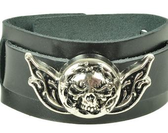 """Lederarmband """"SKULL BARBWIRE"""",  Leder, leather, Armband, bracelet, black leather, Niete, rivet, Totenkopf, skull, Motorrad, biker"""