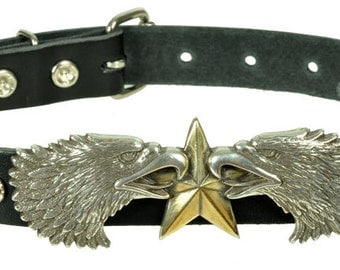 "Lederhalsband/Choker ""DUAL EAGLE FREEDOM"", Leder, leather, Halsband, Schwarz, black, Adler, eagle, head, Adlerkopf, Niete, rivet,"