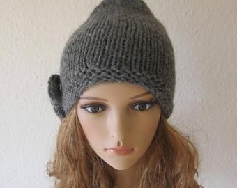 Womens slouchy beanie hat  wool beanie hat handknitted beanie Knit  fall winter accessorieshat slouchy beanie bow