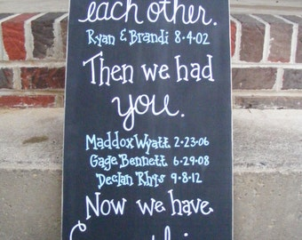 First we had each other, then we had you, now we have everything.  Personalized family sign.