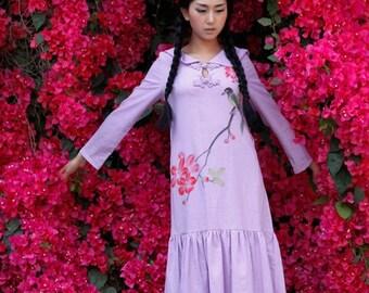 maxi dress womens summer dress long sleeve dress womens plus size dress hand painted dress summer dresses maxi dresses long dress flower