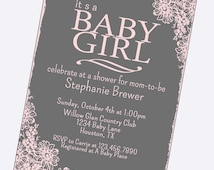 simple baby girl shower invitations, pick any two colors, vintage flowers, girl shower, shabby chic, digital, template, lace