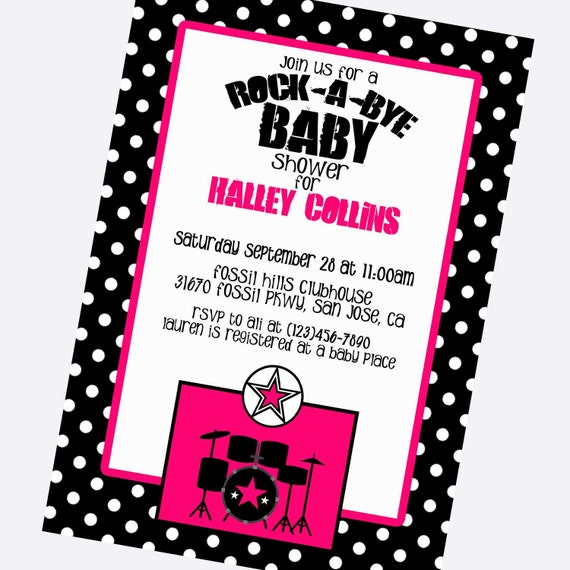 items similar to rock star baby girl shower invitations baby girl shower invite rock star. Black Bedroom Furniture Sets. Home Design Ideas