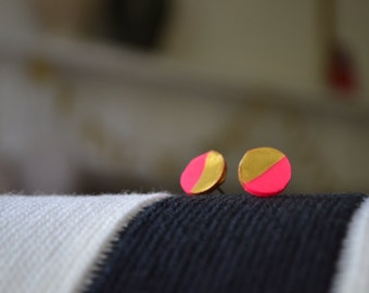 Neon pink, black, or white: gold dipped disc clay round earrings