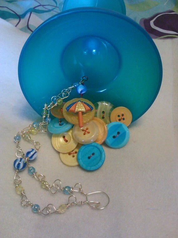 photo of Fun in the Sun Button Cluster Bib Necklace by Crazy Button Design13