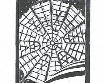 Guggenheim black linocut print