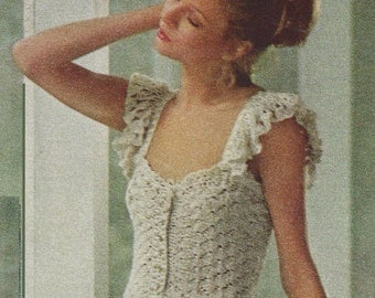 1970 Camisole with Shoulder Ruffles and Ribbons,  Vintage Crochet Pattern, INSTANT DOWNLOAD PDF