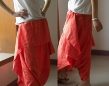 022---Slouchy Fit Linen Harem Pants, Loose Fitting Cropped Harem Pants, Exotic Style Linen Capris, Plus Size Clothing.