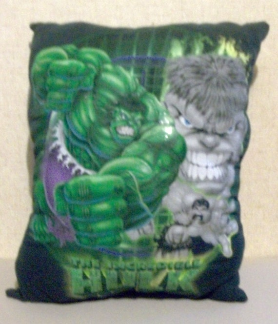 The Incredible Hulk T Shirt Throw Pillow Upcycled Eco Friendly