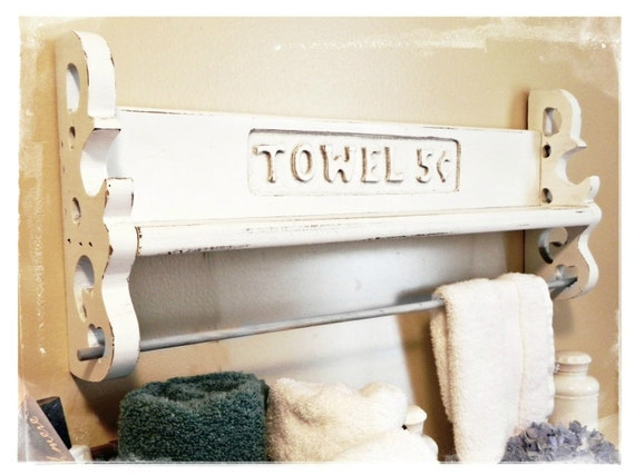 white distressed bathroom shelf towel rack. Black Bedroom Furniture Sets. Home Design Ideas