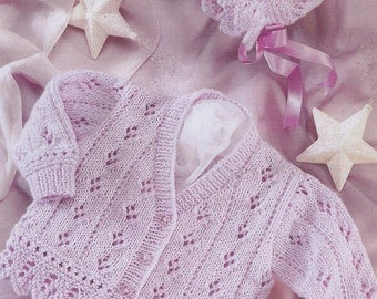"""vintage knitting pattern PDF baby cardigan and bonnet double knitting 16"""" to 26"""""""