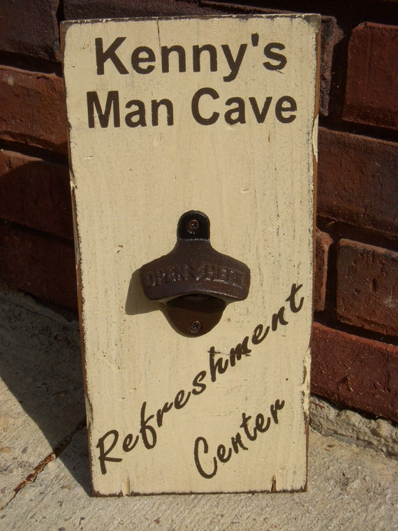 Personalized Man Cave Signs Etsy : Personalized man cave wood sign with bottle opener