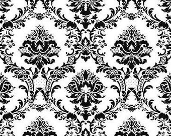 Large Black and White Victorian Damask - Large Scale, Chic,  Lattice Pattern - Wallpaper By The Yard - BK32013 fl