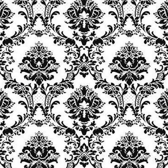 Large Black And White Victorian Damask Large Scale Chic