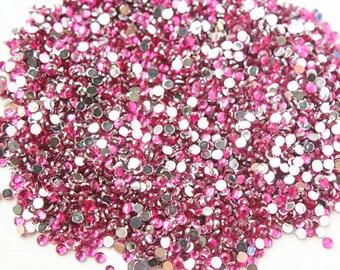 2000pcs Rose Flatback Rhinestones, Flat Back Resin Beads