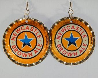 Newcastle Brown Ale Bottle Cap Earrings