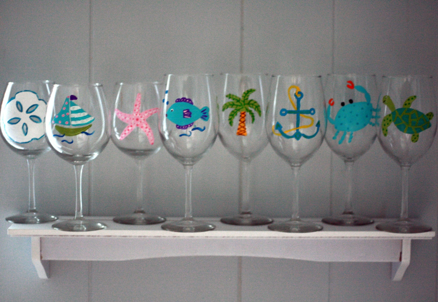 beach themed hand painted wine glasses set of 4