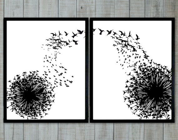 Dandelion and birds black and white wallart by printsenposters for Black and white wall art