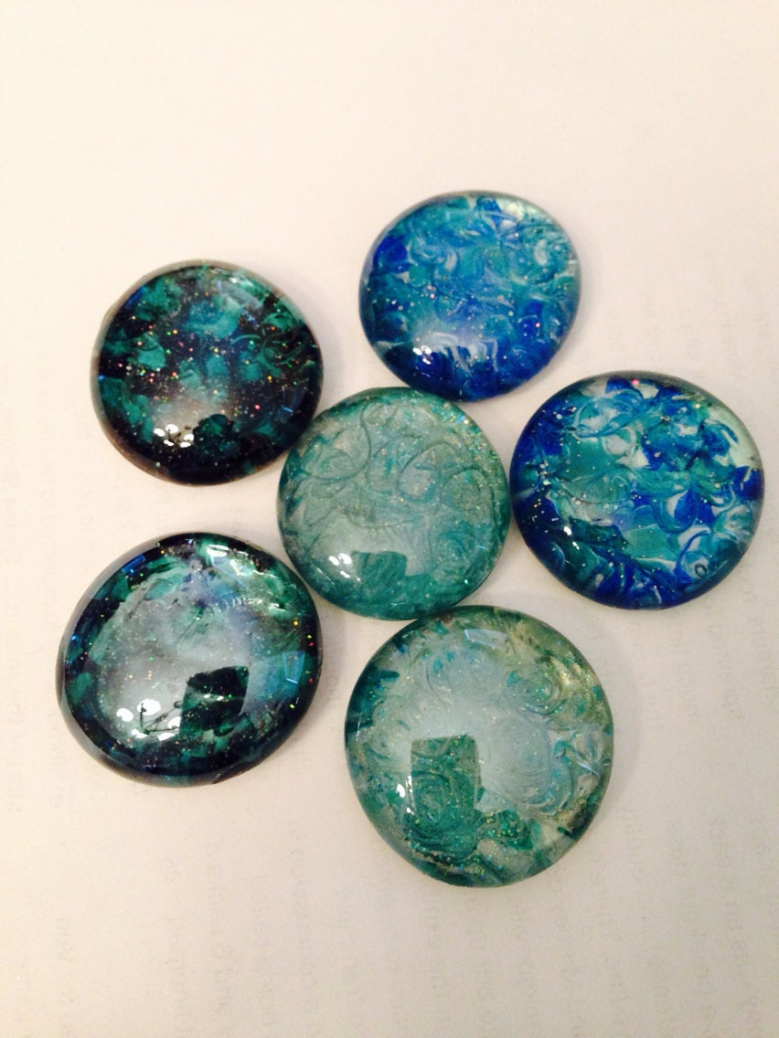 Glass magnets. Hand painted Aqua blue black by ...