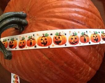 """Halloween grosgrain ribbon 7/8"""" pumpkins"""