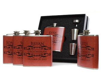 Groomsmen Gifts // Flask Gift Set of 5 // Burnt Orange