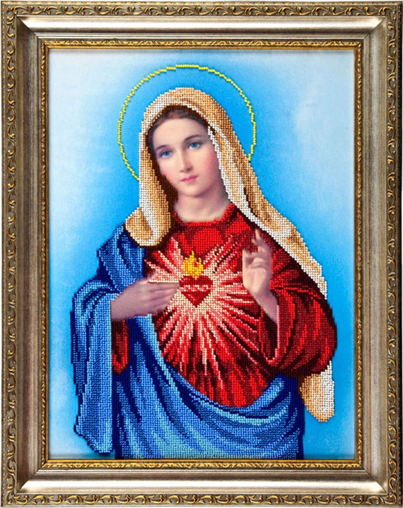 Sacred Heart of Maria, religious picture, icon, beading on needlepoint kit, DIY beadpoint, bead embroidery DIY kit