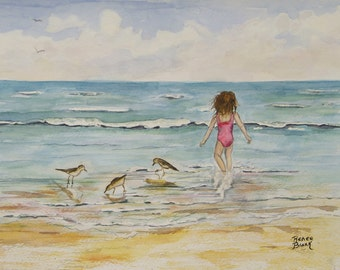 "This a print of my original watercolor painting titled "" Catching the waves"" It is printed on high quality art paper."