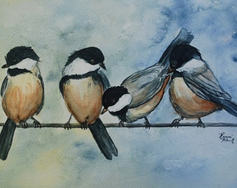 "This is a print of my original watercolor titles ""Feathered friends. Available 5 x7,8x10,11x14,wrapped canvas and cards"