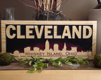 Cleveland, Whiskey Island, Wooden Carved Sign, Bar Signs, Man Cave, City Skyline Silhouette, Wooden carved plaques, Custom Wood Signs