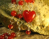 Red Jade Necklace with Red Glass Heart Pendant and Swarovski Crystals