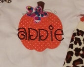 Infant or Toddler Fall Pumpkin Embroidered Applique All in One Romper or T-Shirt