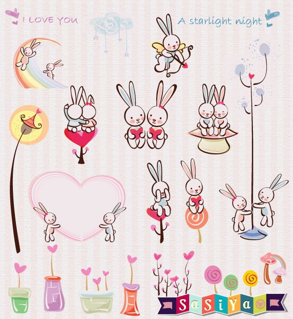 Instant Download Cute Couple Rabbit Bunny Love Design Digital