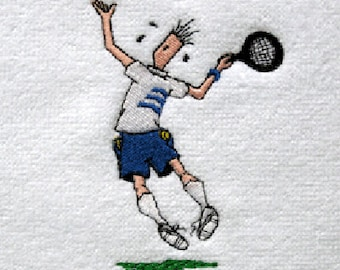 "Mens Tennis Gift - Personalized Tennis Towel - Tennis Towel ""Leaping Man"" #085"