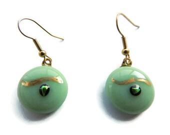 light green fused earrings,round green glass pendant earrings,round fused earrings,fused glass earrings, painted fused earrings,gold earring