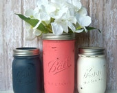 Coral and Navy, Wedding, Mason Jars, Painted Mason Jars,Wedding Decor,Wedding Decorations,Bridal Shower, Table Settings, Decor, Reception