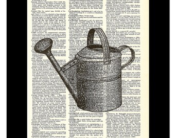 Garden Watering Can - Vintage Etching - Dictionary Page Art