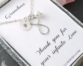 Grandma of the bride, grandmother gift, thank you card, infinity necklace, birthday gift for nana, nana gift, grandmothers necklace
