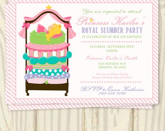 Princess and the Pea Birthday Party Invitation - 5x7