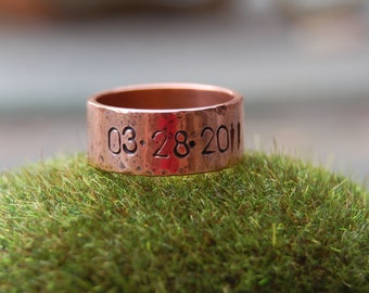 Hand Stamped Personalized Copper Ring